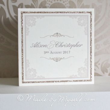 Elegant Scroll Glitter Border Wedding Invitation